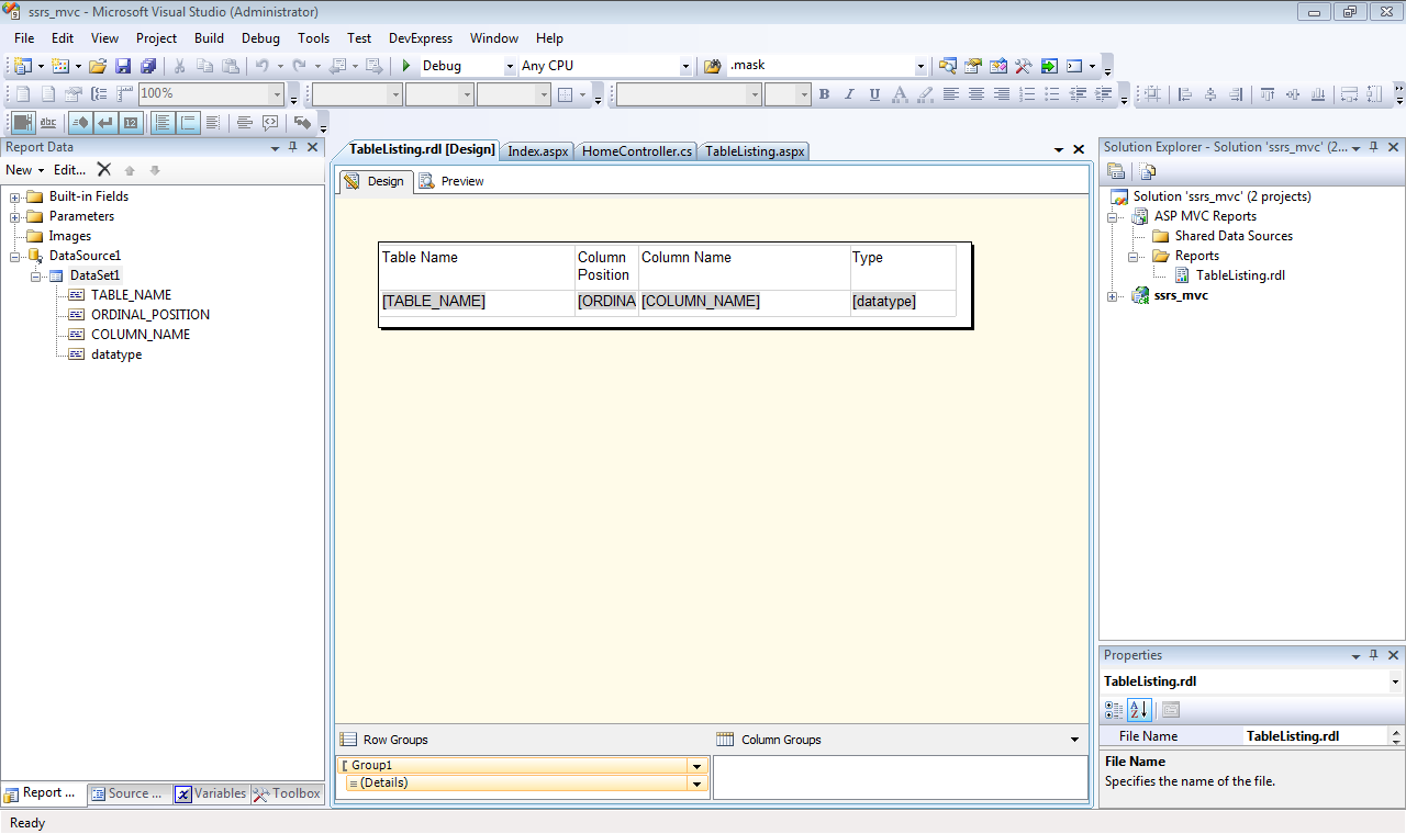 SQL Server Reporting Services and ASP NET MVC, Part 1