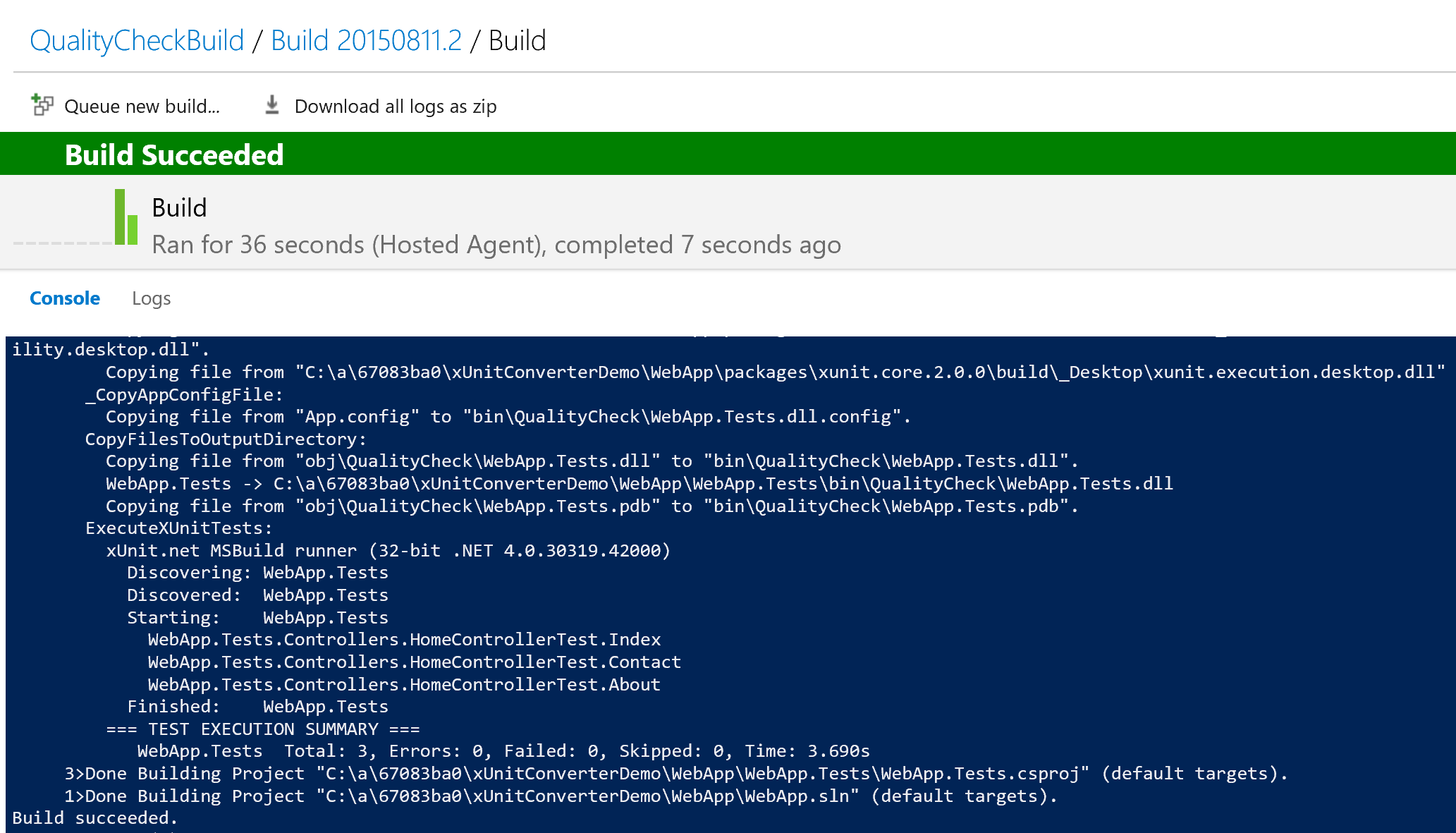 Converting MSBuild Unit Tests to xUnit and Integrating Them