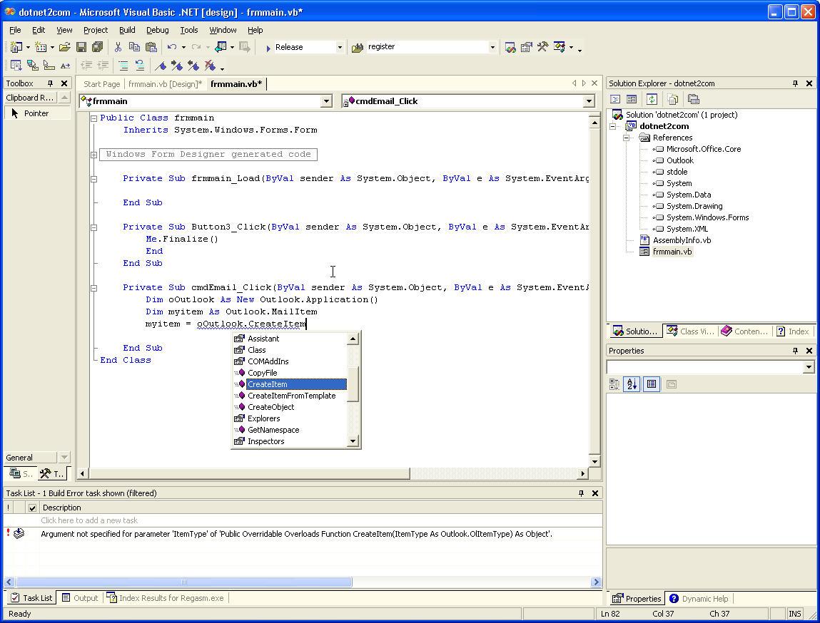 COM Interop in Visual Studio  NET