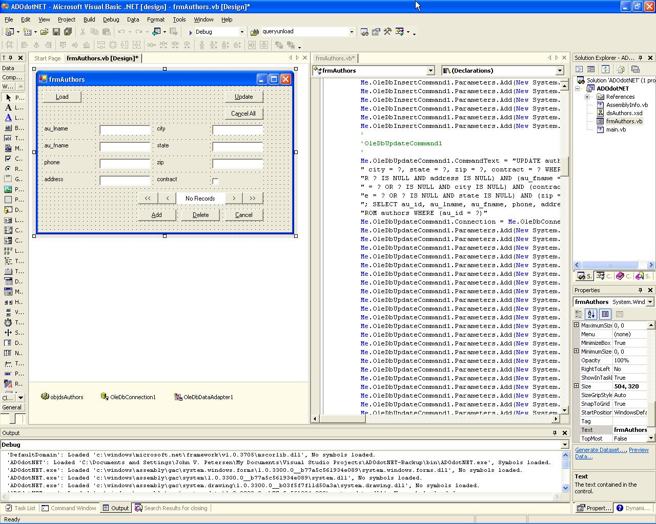 ADO NET: Building Your First Data-Aware Form
