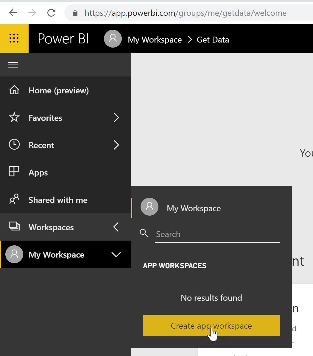 Figure 10: Creating a new workspace in Power BI Service