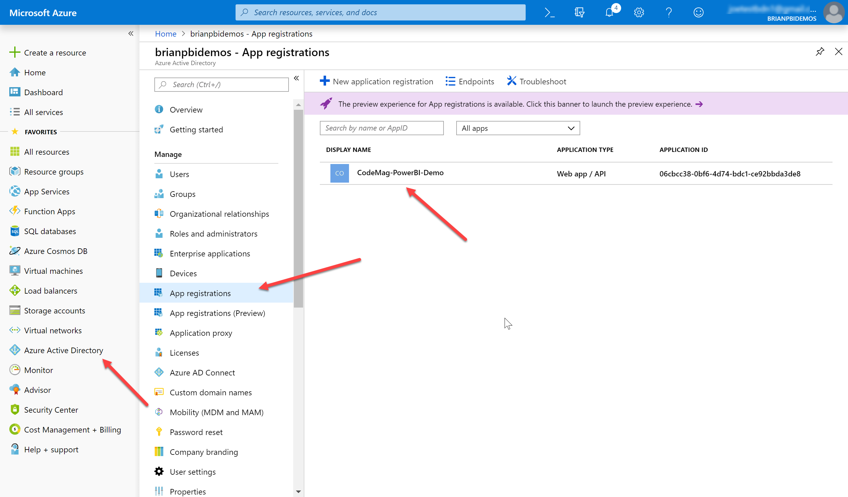 Figure 14: Access the application registration in the Azure Portal.
