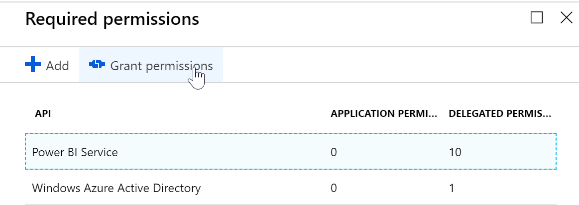 Figure 16: Granting permissions to your app