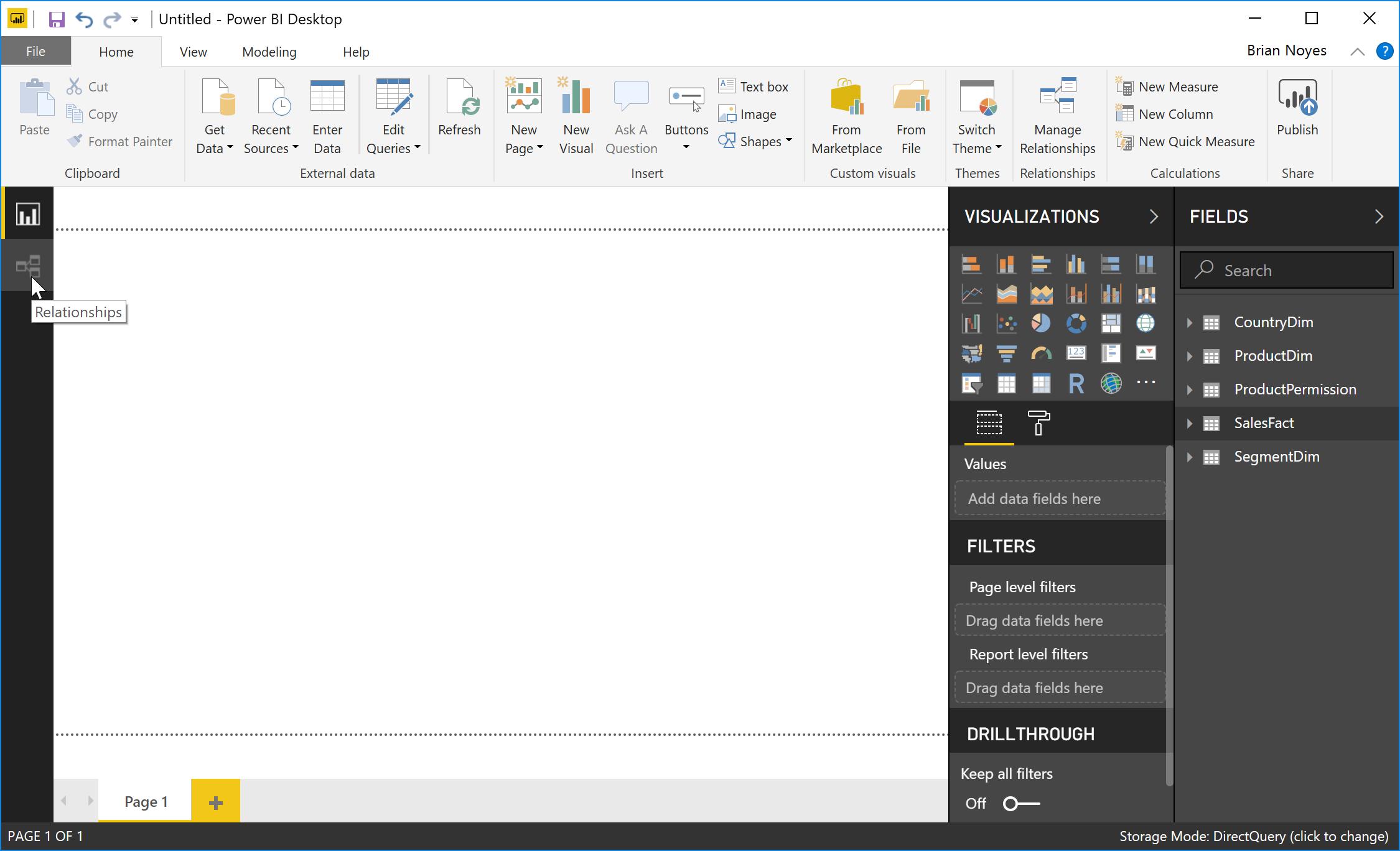 Figure 7: Switching to Relationships view in Power BI Desktop