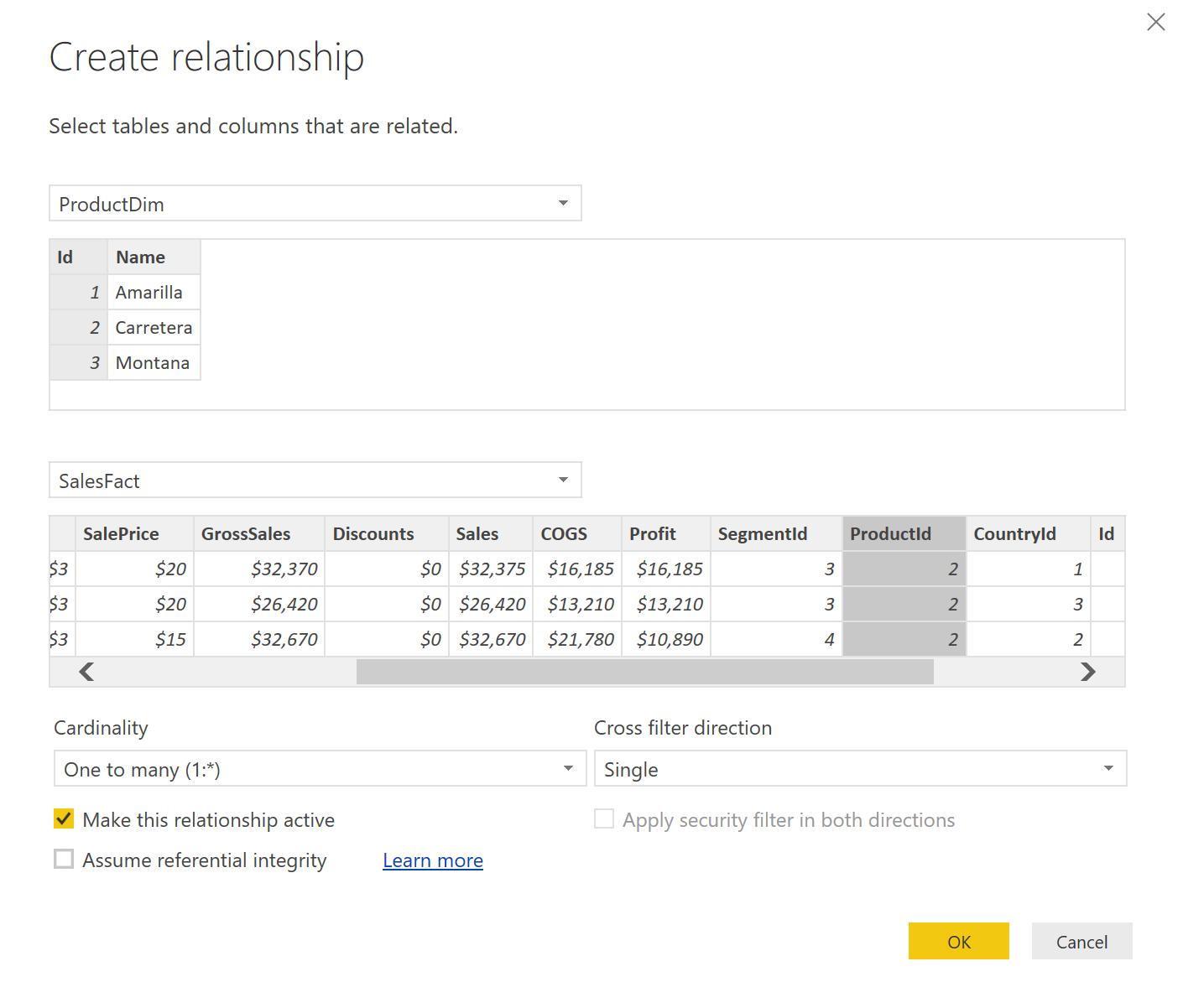 Figure 8: Assigning relationship columns between tables