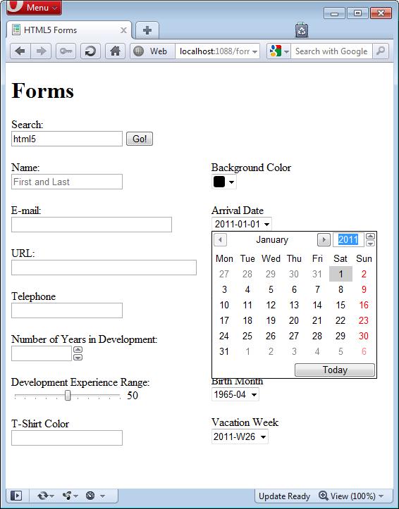 Figure 9: Time input type in Opera 11.10.