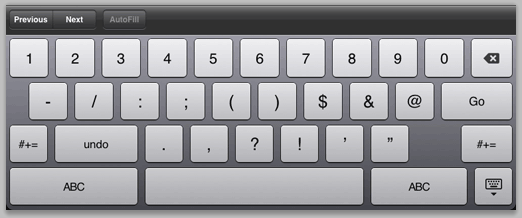 Figure 11: Soft keyboard formatted for numbers.