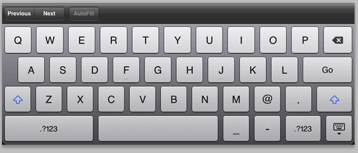 Figure 12: Soft keyboard formatted for email.
