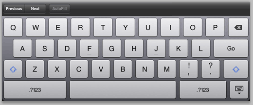 Figure 13: Soft keyboard formatted for text.