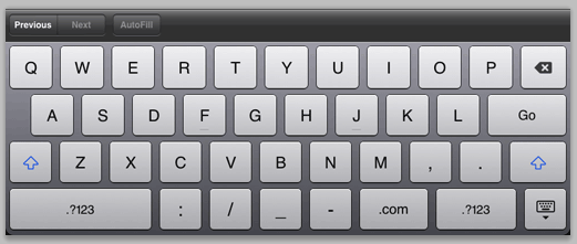 Figure 14: Soft keyboard formatted for URLs.