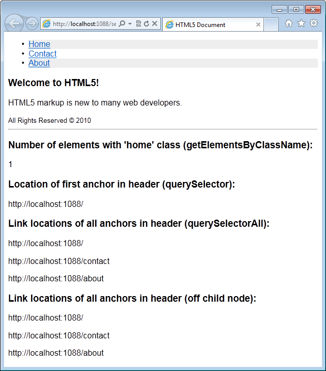 Figure 16: Results of calls to the new Selection API in the example HTML page.