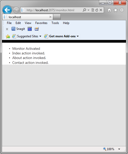 Figure 3: The monitor.html displaying messages sent from Home Controller Actions.