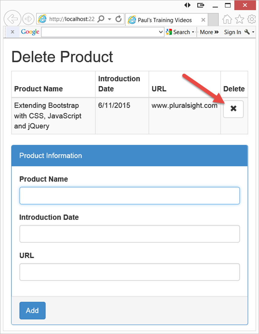 Add, Edit and Delete Data in an HTML Table Using JavaScript and jQuery