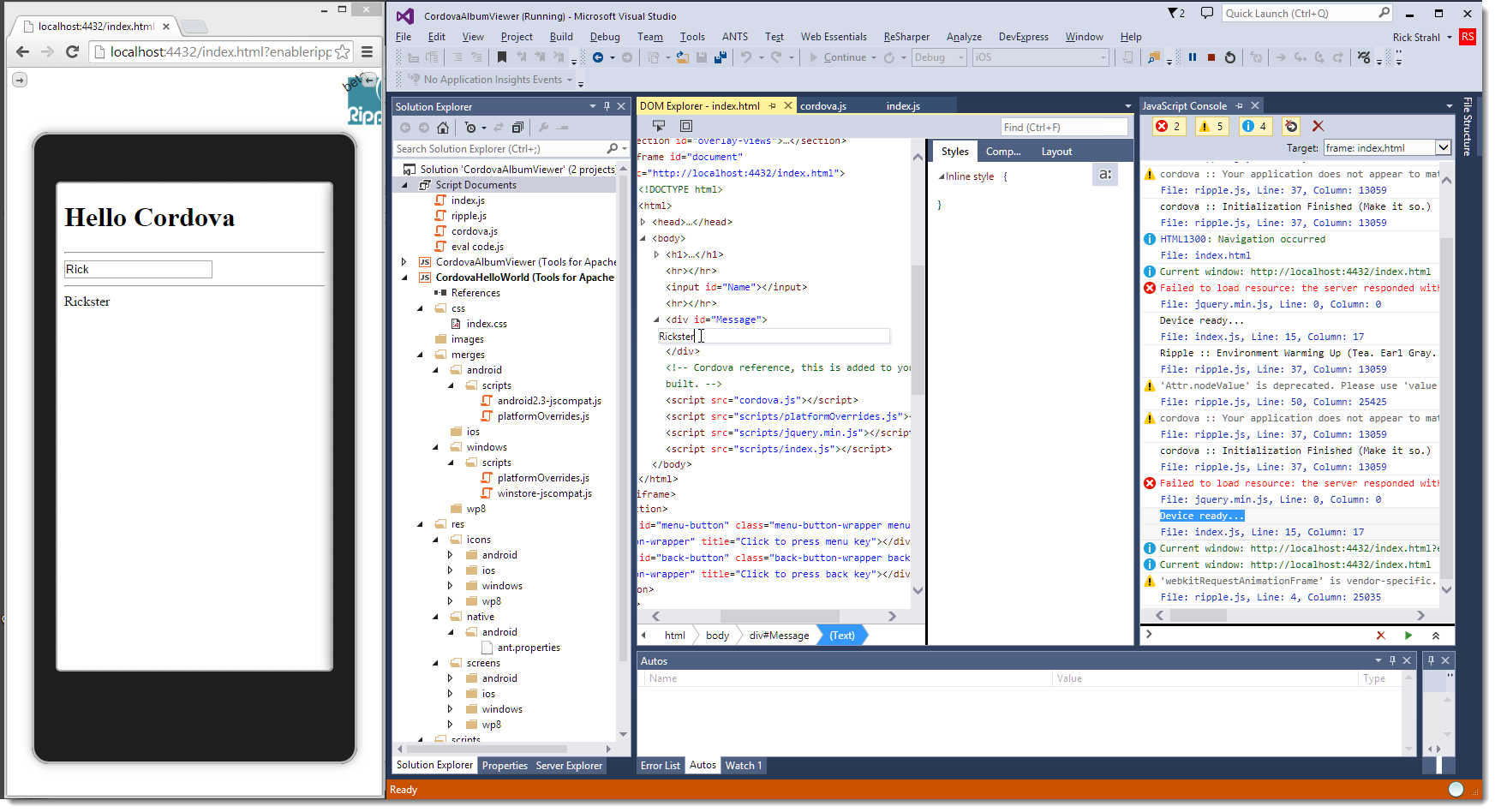 Taming mobile apps with cordova and visual studio use the ripple html based debugger pronofoot35fo Choice Image