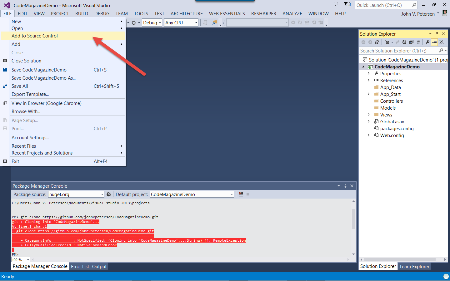 The Simplest Thing Possible: Git and Visual Studio