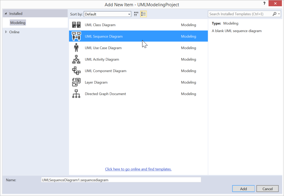 The simplest thing possible understanding the visual studio figure 11 to add a sequence diagram to a project select the uml sequence diagram from the add new item dialog ccuart Image collections