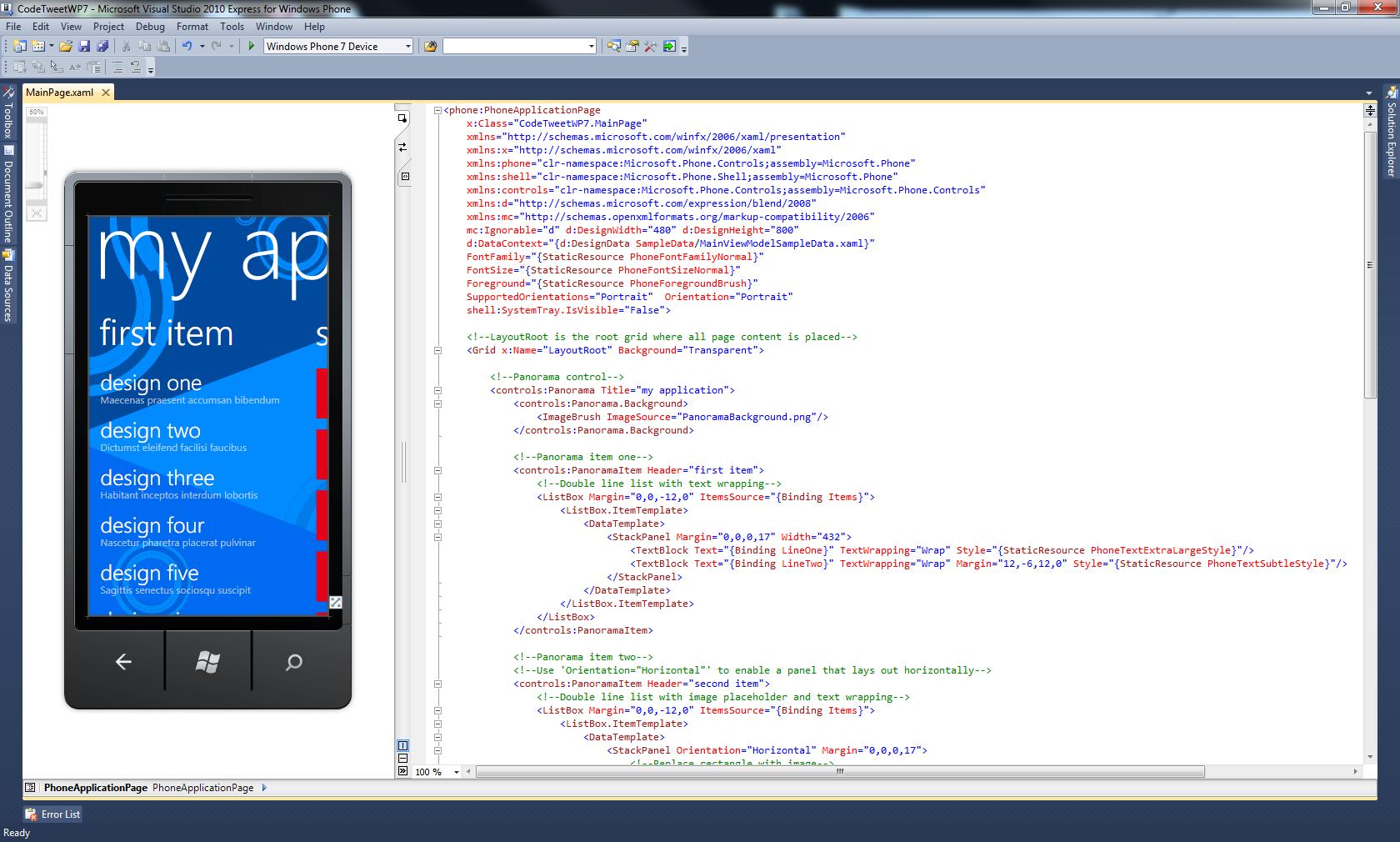 Building CodeTweet for Windows Phone