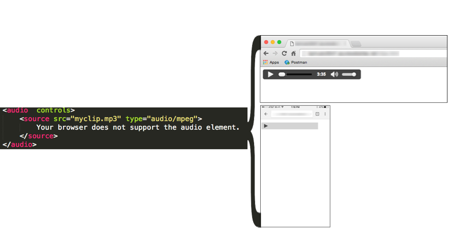 Figure 2: Depending on your device, the HTML5 Audio Control with the Controls option set may not be functional.