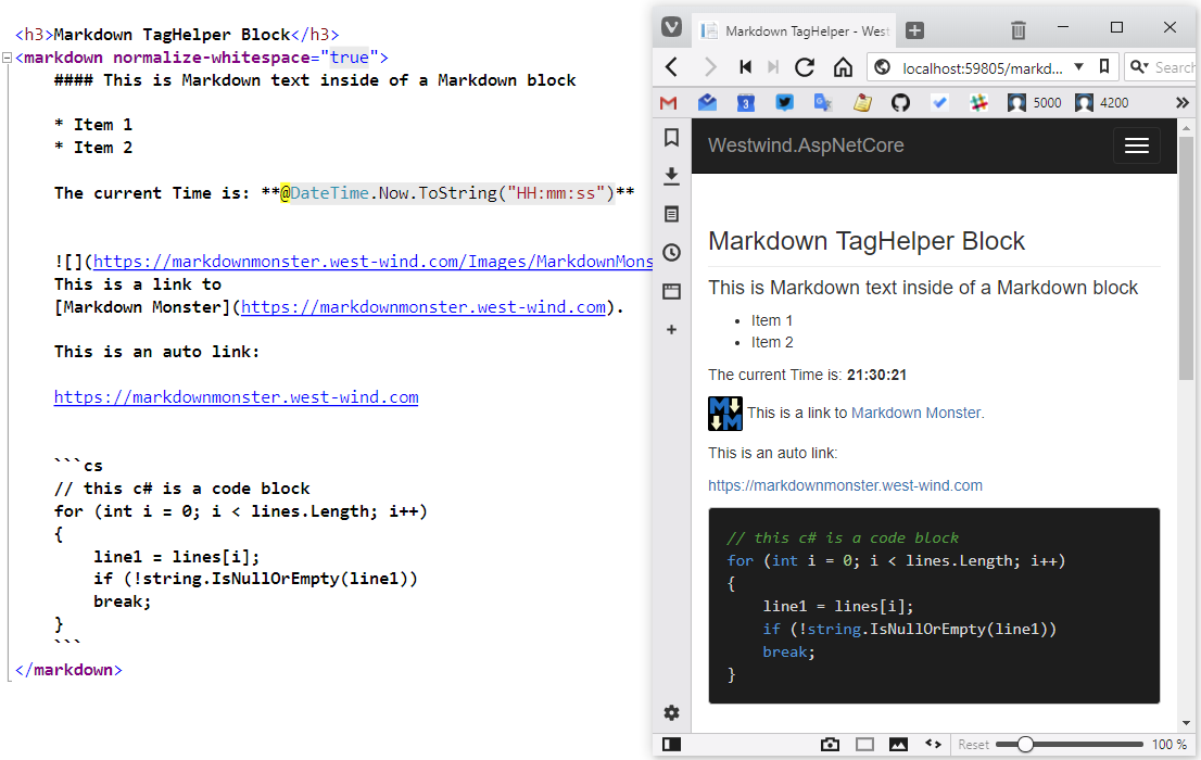 Use Markdown with ASP NET Core