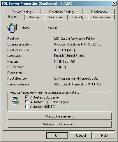 Testing SQL Server 2000: Inspecting Configuration Information